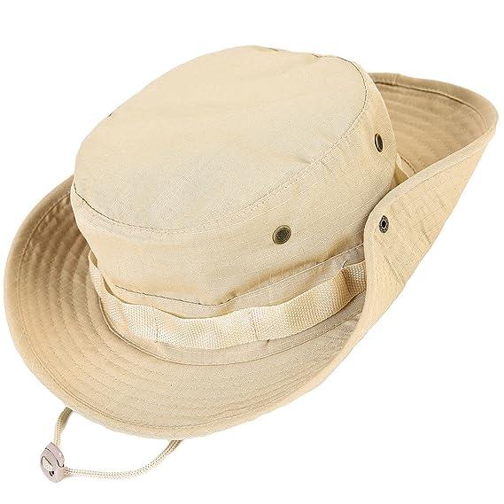 Unisex Militar Sombrero - Tela de algodón y poliéster suave superior, Sturdy Stitching Ala ancha para hombre y para mujer Boonie- Top Camo Sombrero de cubo ...