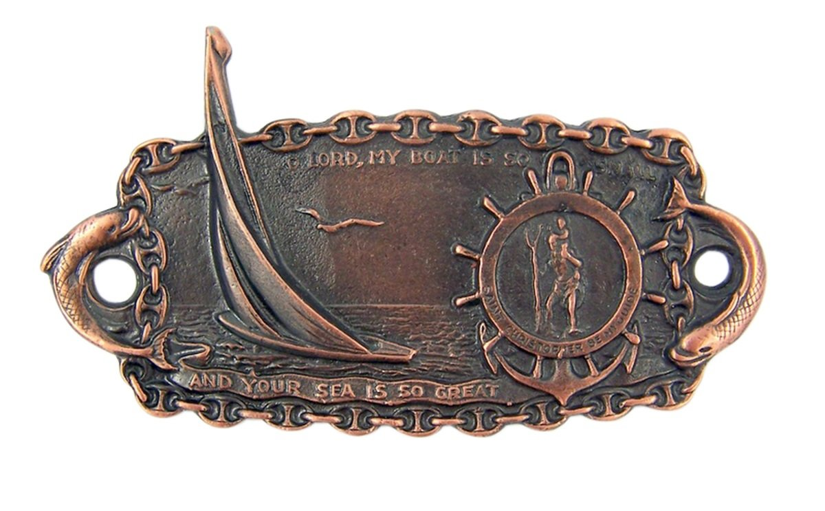 Fine Pewter Saint Christopher Sail Boat Medal Plaque 3 1//2 Inch