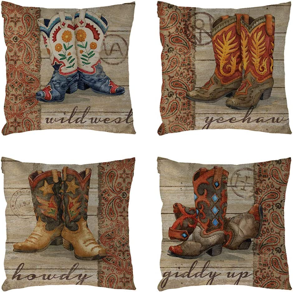 geinne 4pack Cowboy Style Throw Pillow Case Vintage Western Cowboys Colorful Shoes Theme Decorative Square Cotton Linen Cushion Cover for 18 X 18 Inch Pillow Inserts (Cowboy-3)