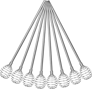 8 Pieces Stainless Steel Swizzle Sticks, Coffee Stir Sticks Straws Mixing Spoon Spherical Spring Stirring Stick for Tea, Beverage, Cocktail, Hot Drink, Home Kitchen Bar Party Supplies