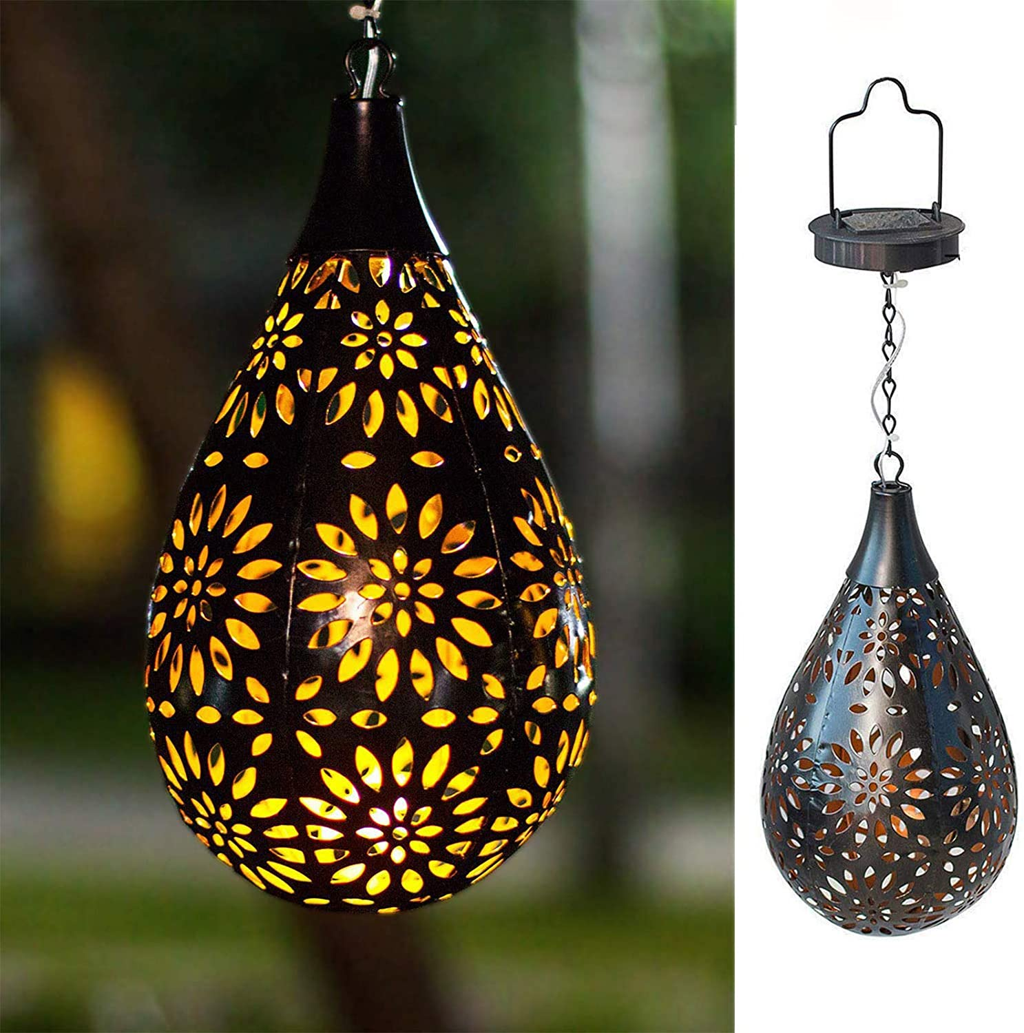 BOAER Hanging Solar Lights Outdoor (2 Pack) Garden Boho LED Flower Waterproof Decorative Metal Light for Porch Garden Outdoor (2 Pack)