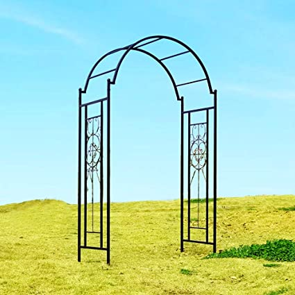OUTOUR Arco de metal para jardín, arco, enrejado, soporte para plantas para escalada, flores de vid de rosa, exteriores, jardín, patio, patio, decoración de boda, color negro mate: Amazon.es: Jardín