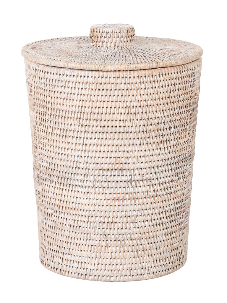 Kouboo La Jolla Rattan Round Plastic Insert & Lid, Large, White-Wash for Bedroom, Living Room and Bathroom Basket for Dry or Organic Waste by Kouboo