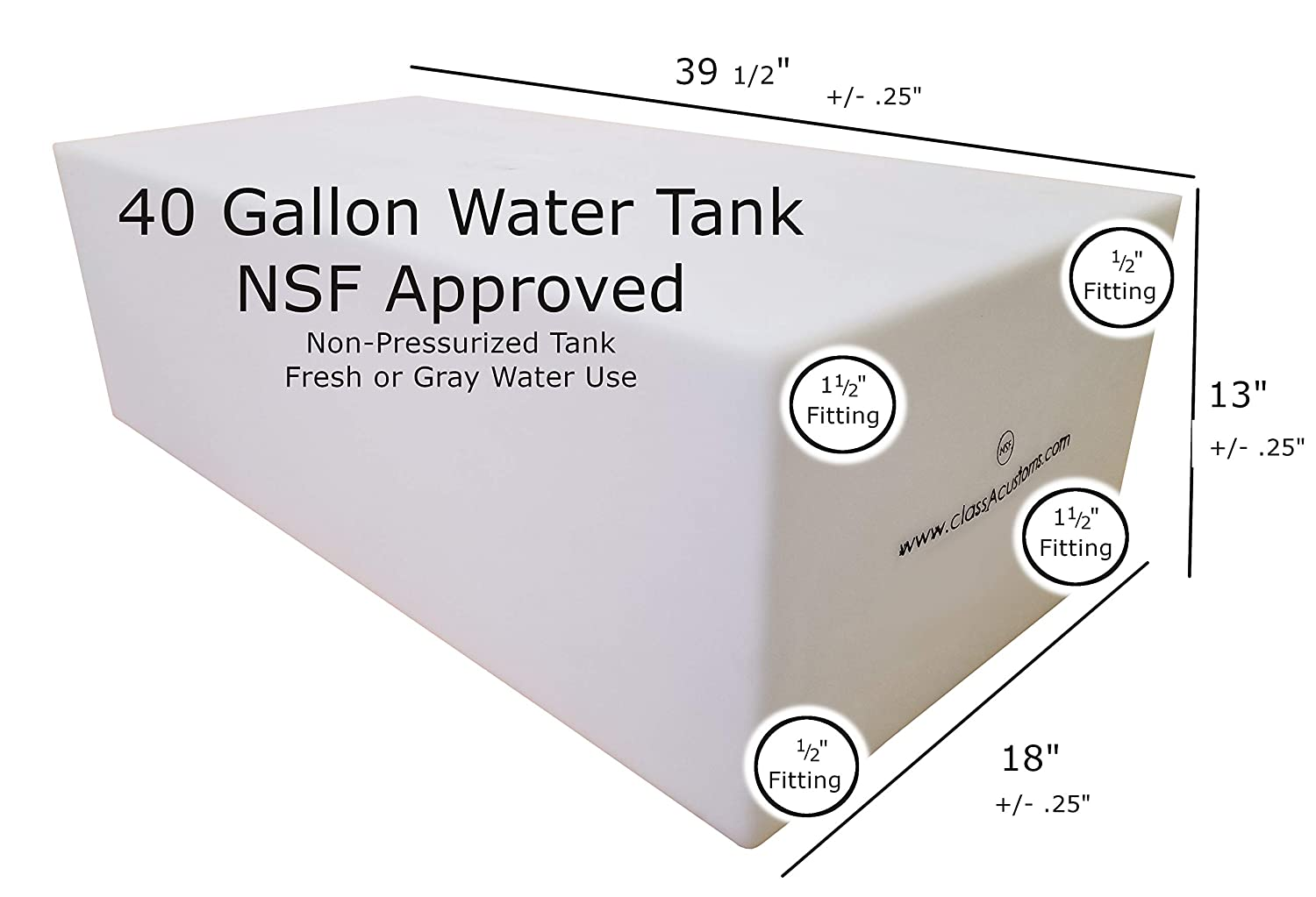 Class A Customs 40 Gallon Water Holding Tank NSF Approved T-4000