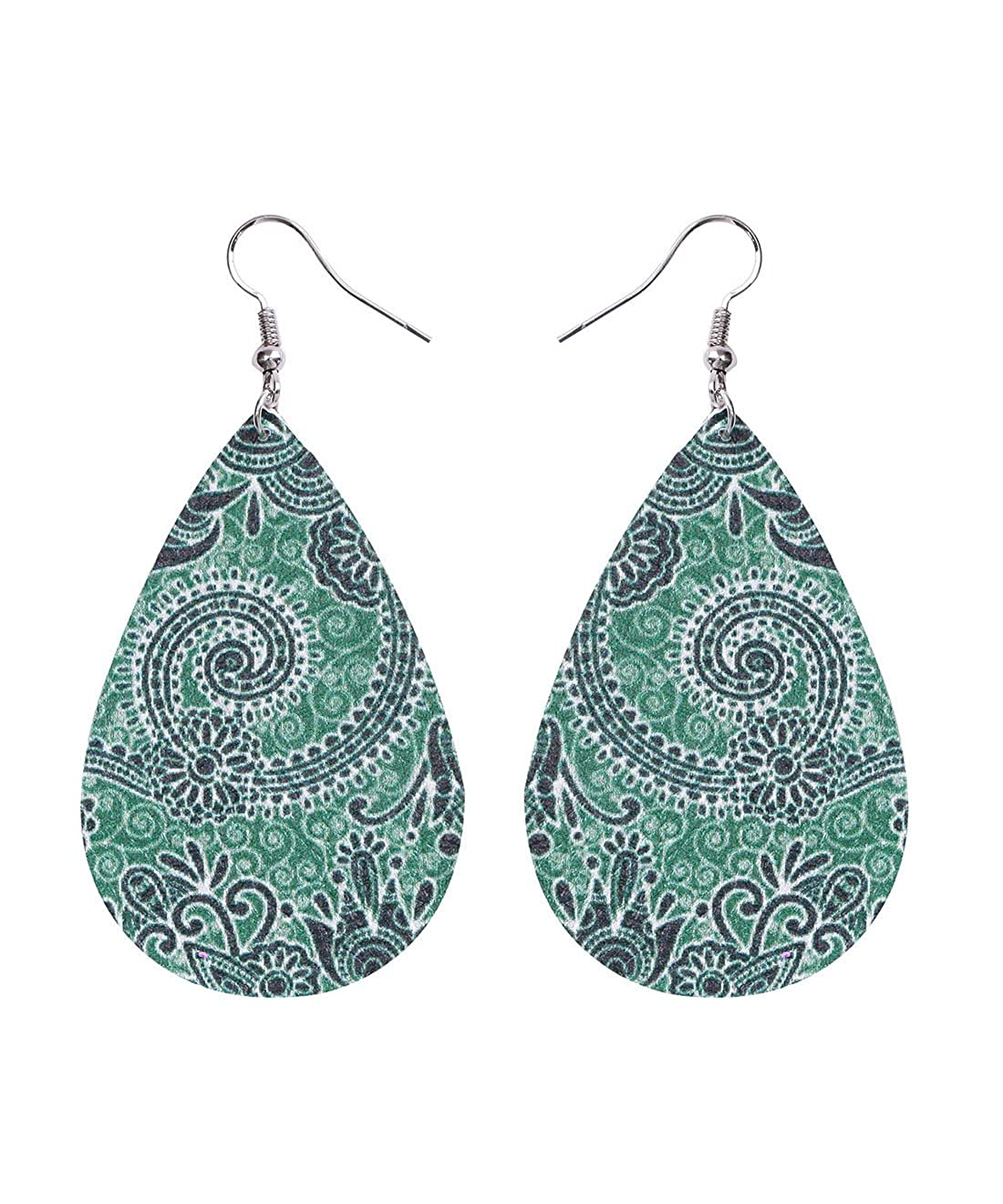 Bohemia Vintage Leather Teardrop Leaf Dangle Pierced Earrings Jewelry