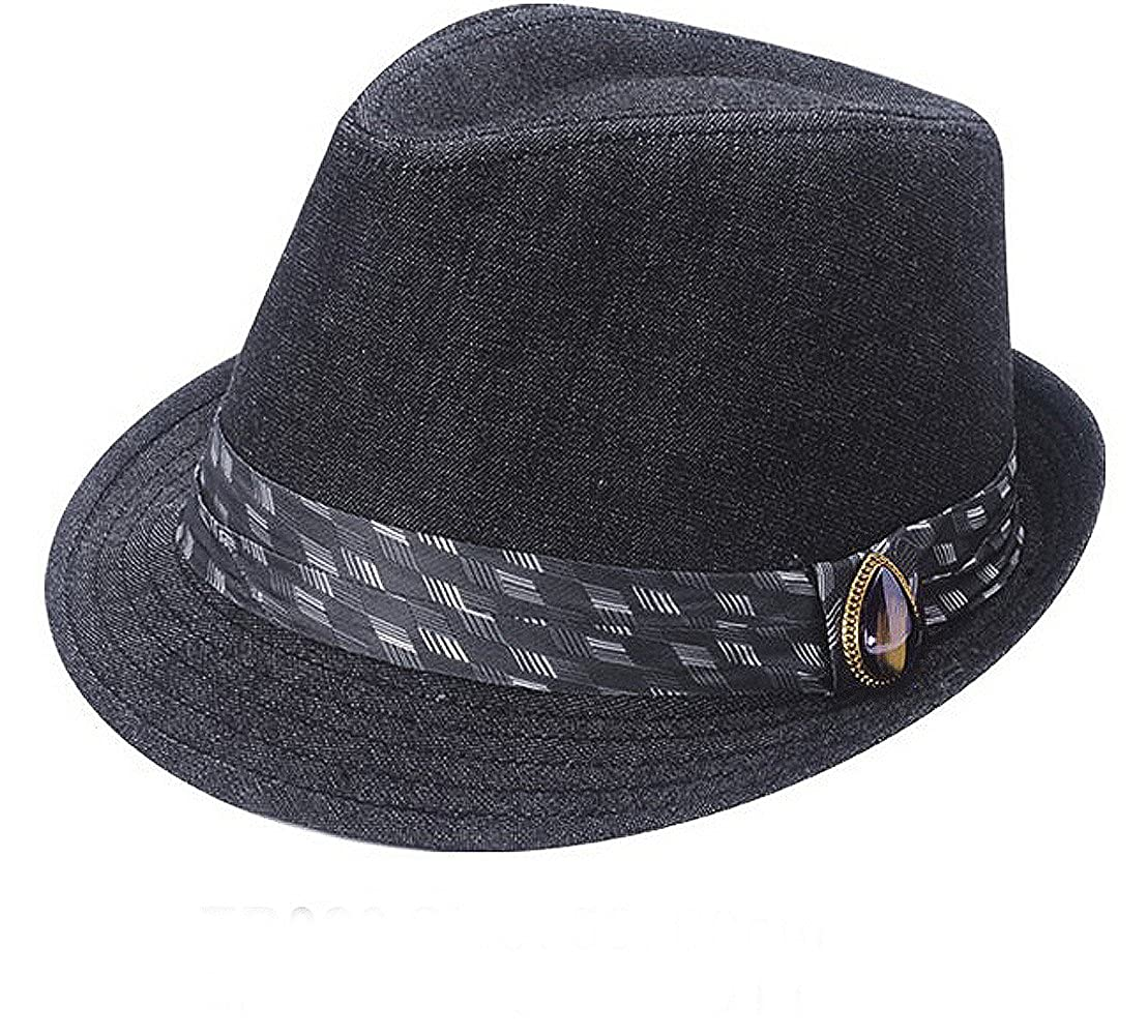 Unisex Trilby Hat with Striped Band and Jewel detail Available in a Selection of Sizes