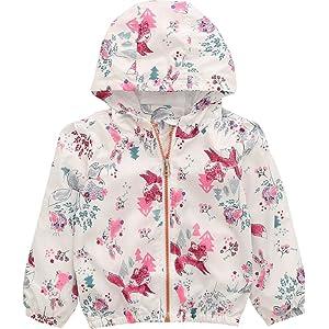 Kids Baby Girls Fall Quick Dry Lightweight Hooded Winbreaker Coat ...
