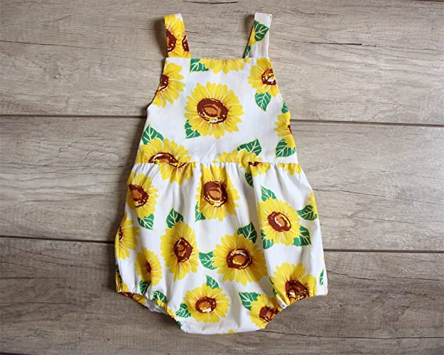 d7f9a1f8a75 Amazon.com  Sunflower White Baby Girl Romper Bubble Romper Birthday Gift   Handmade