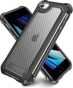 iPhone SE 2020 Case, iPhone 8 Case, iPhone 7 Case, SUPBEC Carbon Fiber Shockproof Protective Cover with Screen Protector [x2] [Military Grade Drop Protection] [Anti Scratch&Fingerprint], 4.7