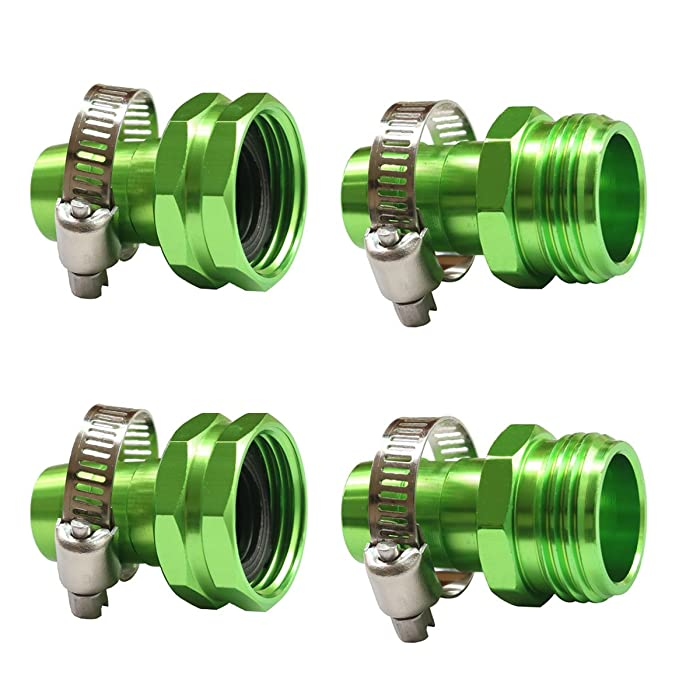 PLG Garden Hose Repair Connector with Clamps,Green,2 Male + 2 Female