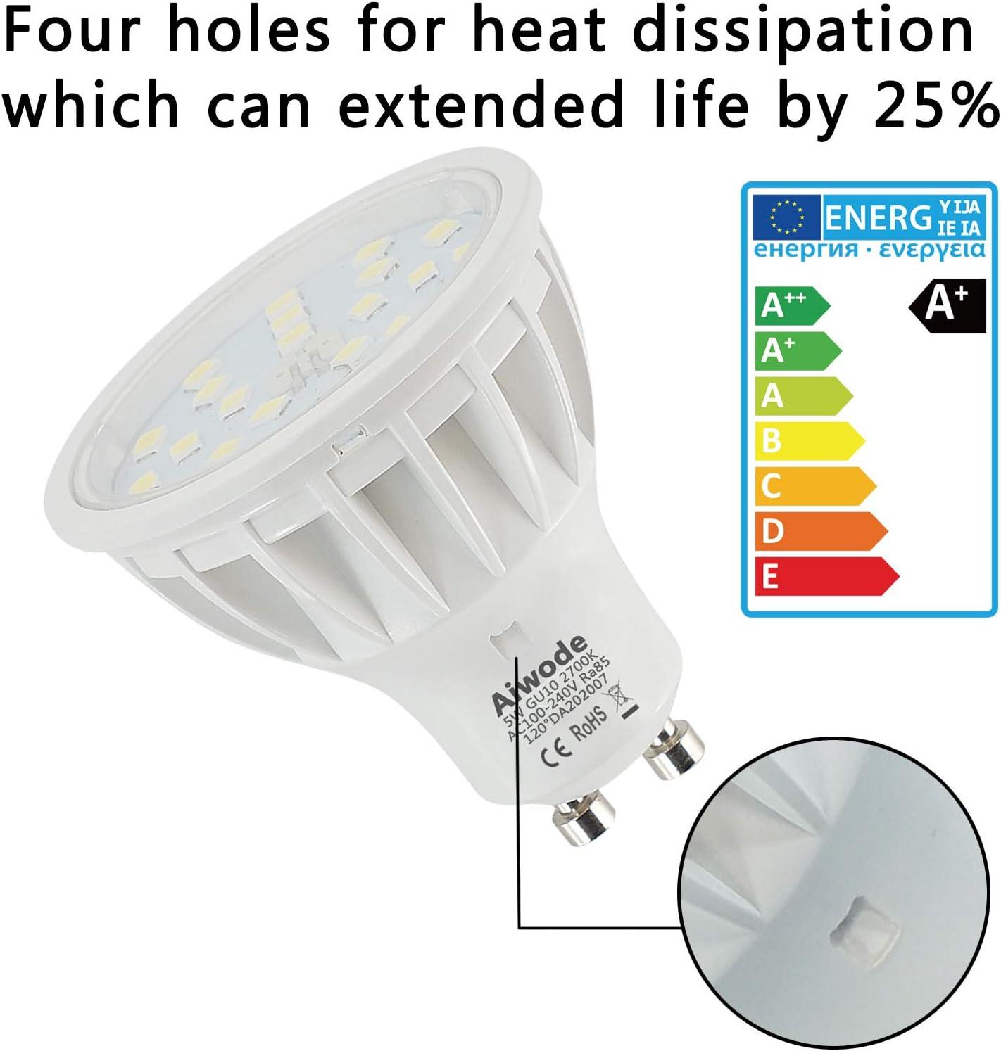 5W GU10 LED Lampe Ersetz 50W Kaltes Wei/ß 6000K Nicht Dimmbar 600LM RA85 120/°Abstrahlwinke,10 Pack.