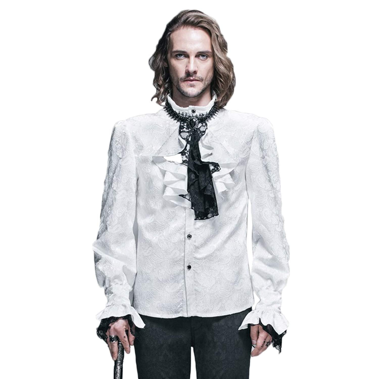 Devil Fashion Steampunk Men Formal Shirts Gothic Victorian Style Wedding Shirts Blouses 4XL