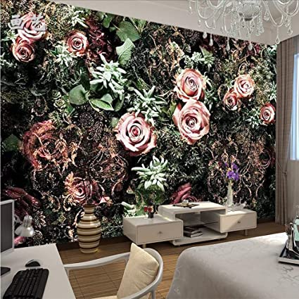 weaeo vintage 8d leaf rose flower wallpaper mural for bedroomweaeo vintage 8d leaf rose flower wallpaper mural for bedroom background 3d flower wall mural wall paper 3d wall decor 450x300cm amazon co uk diy \u0026 tools
