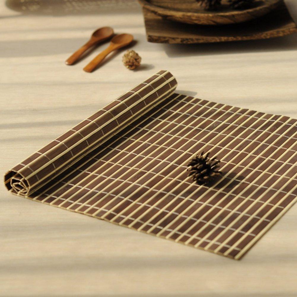 BERTERI 4Pcs Bamboo Placemats Heat Resistent Table Placemat Tableware Pad Waterproof Coffee Tea Mat Home Decoration Tea Ceremony