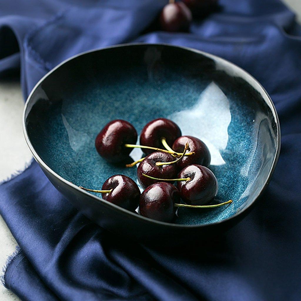 Creative Blue Ceramic Bowl Tableware Salad Ramen Bowl Fruit Plate August half