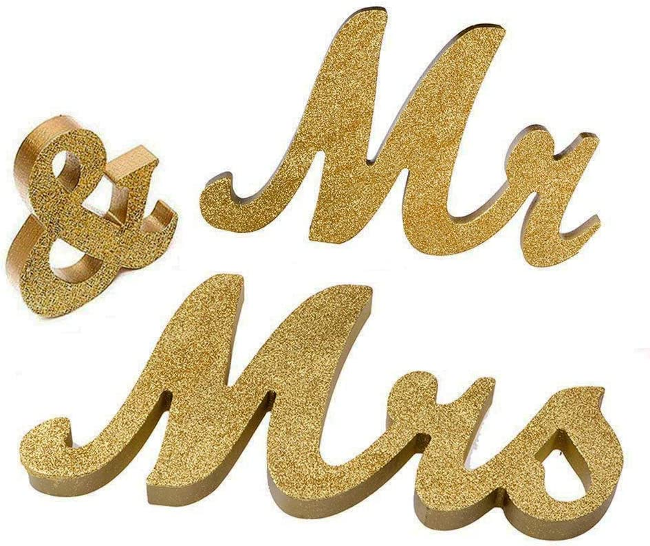 Mr and Mrs Signs Wedding Sweetheart Table Decorations, Wooden Freestanding Letters Wedding Shower Gift (Gold)