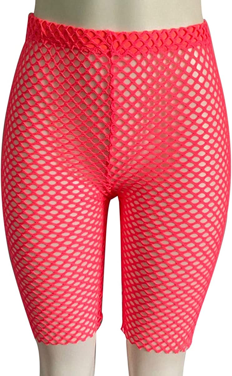 FeMereina Mujer Pantalones Cortos de Motociclista El/ásticos Ajustados Ne/ón Brillante de Cintura Alta Pantalones Cortos Calientes Atractivos Leggings Active Gym Workout Yoga