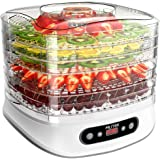 MLITER Electric Food Dehydrator Machine 5-tier Food Preserver Snackmaster for Meat or Beef Jerky, Fruit and Vegetable Dryer with adjustable Timer and Temperature Control, 450W/White