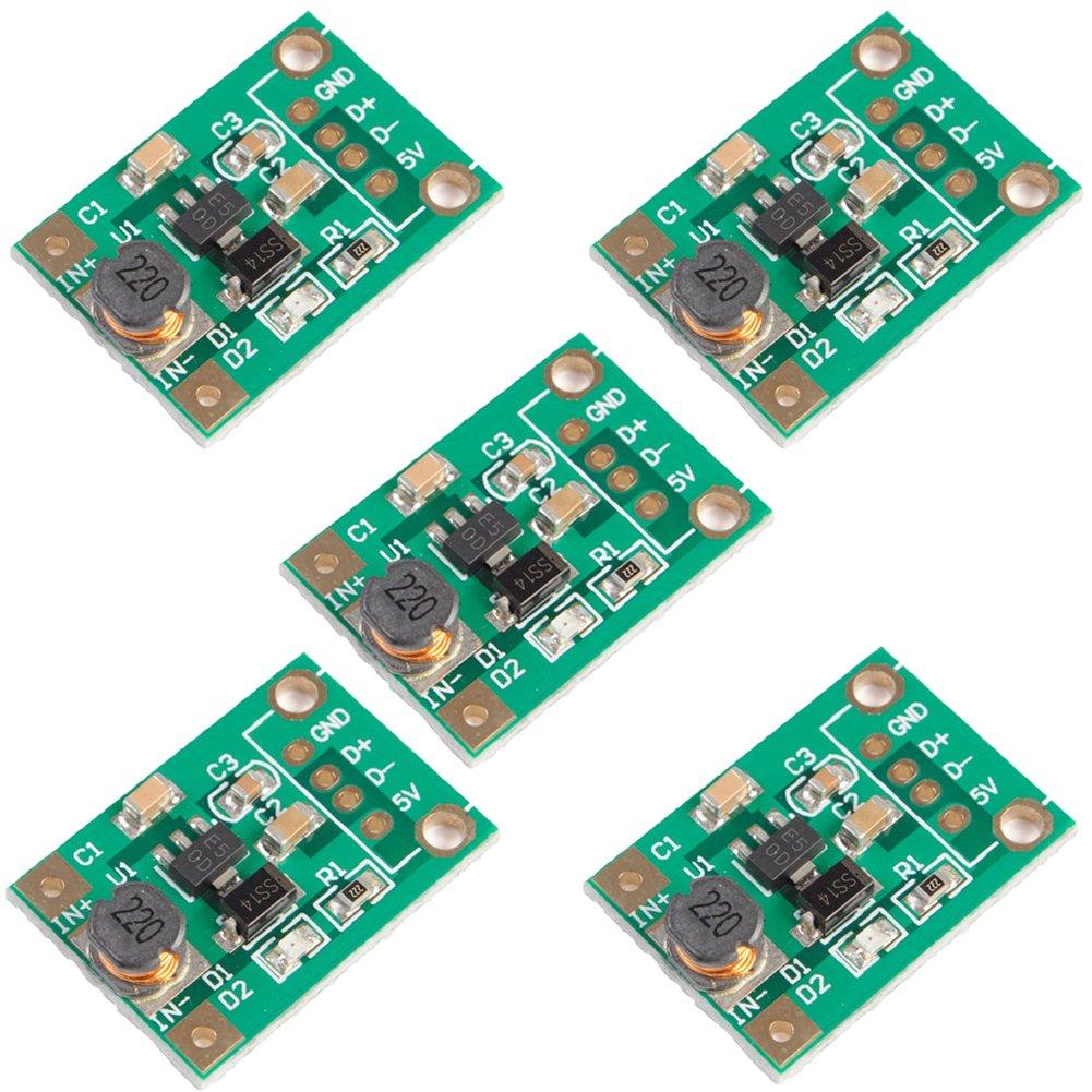 Icstation Mini DC to DC Voltage Regulator Step Up Boost Converter Power Supply Module 1V-5V to 5V 500mA (Pack of 5)