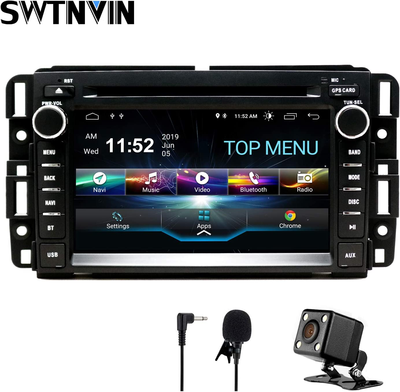 SWTNVIN Car Stereo Android 9.0 DVD Player for GMC Sierra Yukon Chevrolet Buick Chevy Silverado Double Din 2G RAM 32G ROM 7 inch Multimedia Radio Navi Support WiFi BT Steering Wheel Free Backup Camera