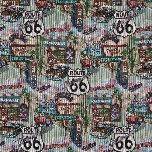 - Route 66 Cars Road Signs Americana Themed Tapestry Upholstery Fabric by the yard