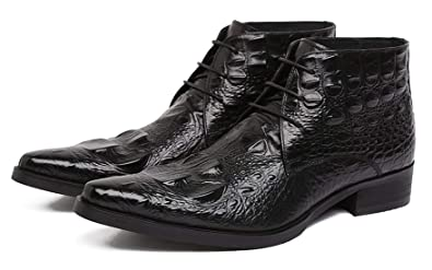 2b5ee2427da Santimon Mens Ankle Dress Boots Genuine Alligator Leather Lace up Causal  Boots