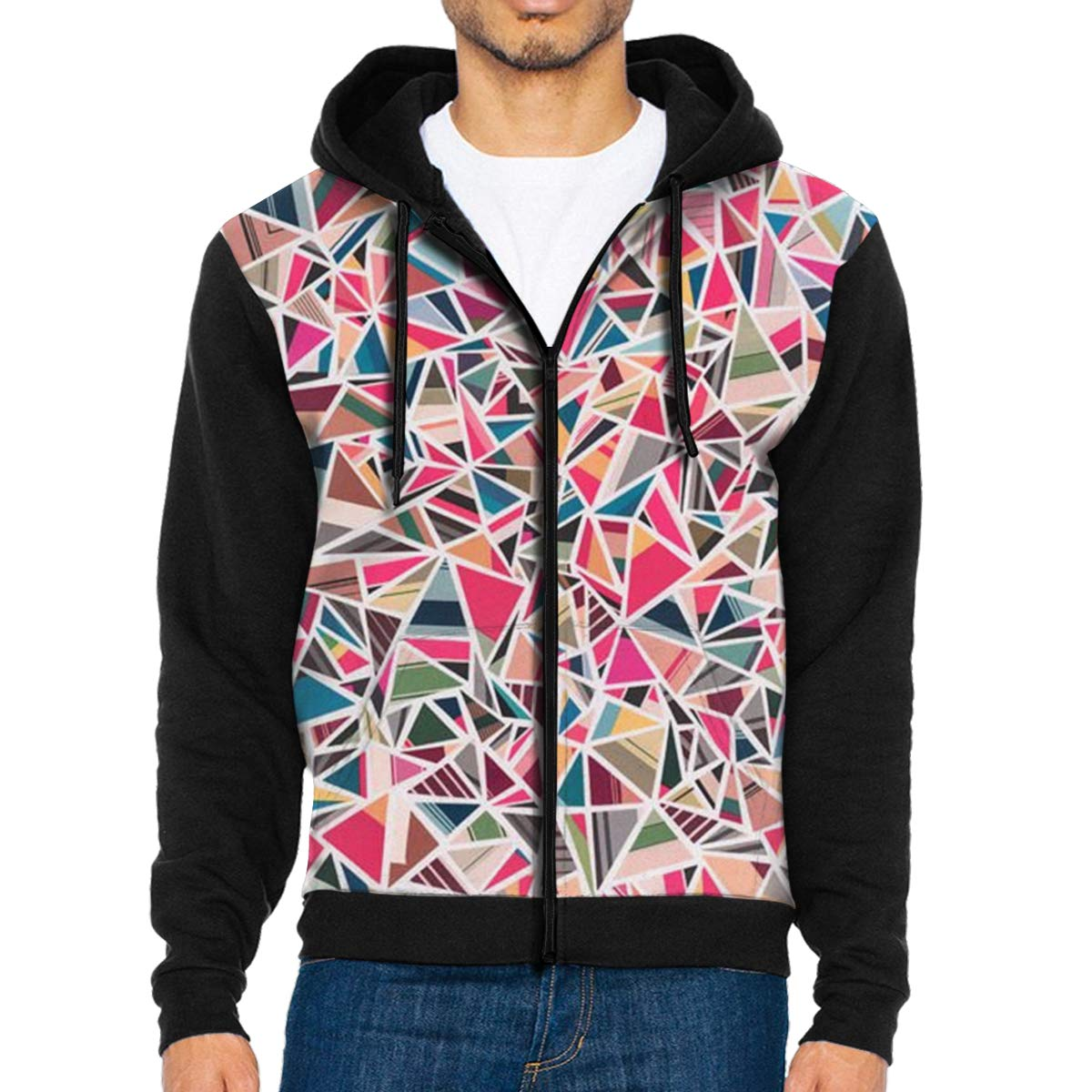 MHBGMYES Colorful Triangles Lightweight Mans Jacket with Hood Long Sleeved Zippered Outwear