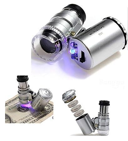 a70acf1743 Mini Microscopio Monoculo con Luz Led y Lupa con luz UV para Deteccion de  Billetes Falsos