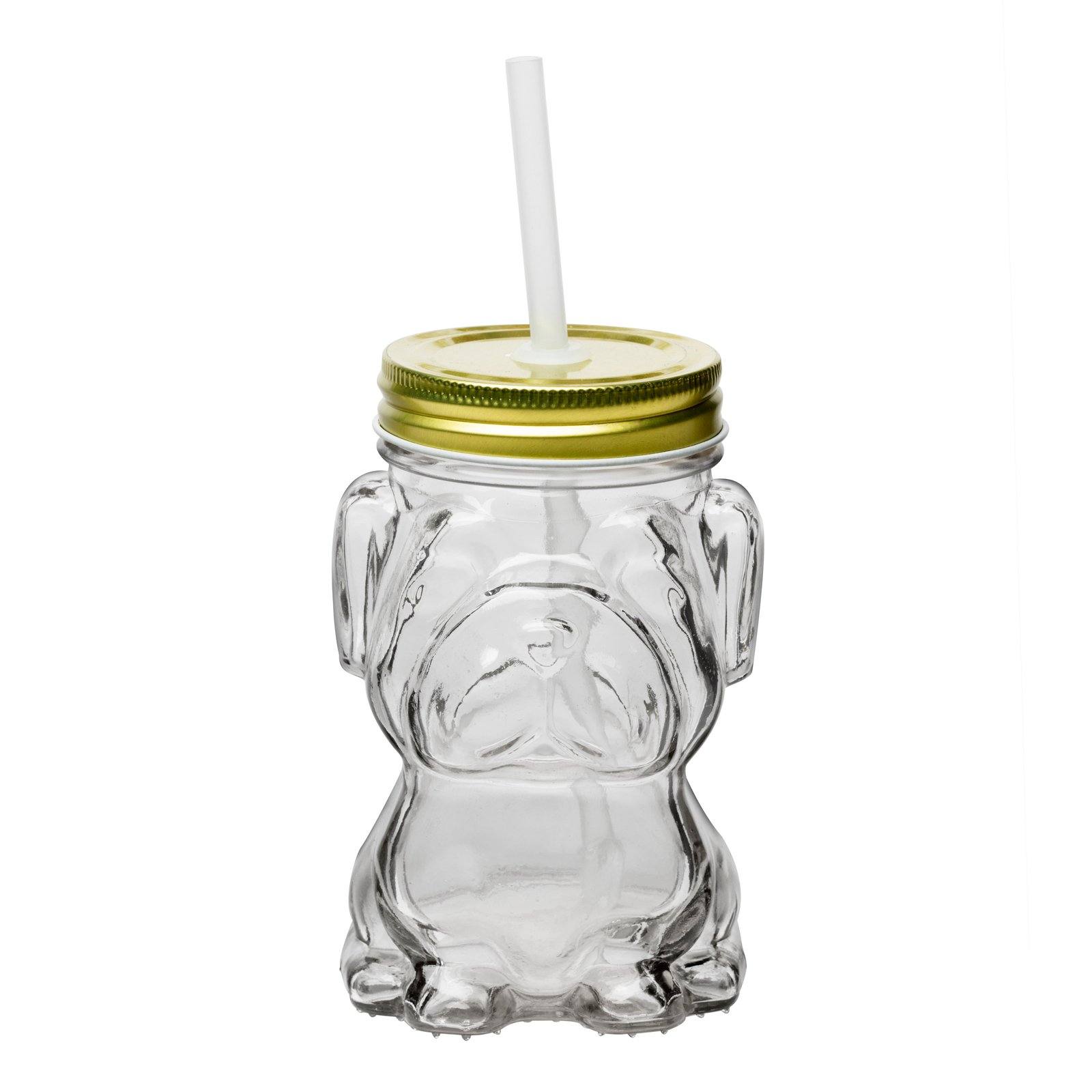 Amici Home, 7CM204GS4R, Mad Dog Glass Mason Jar, Gold Twist Top Lid, Raised Textured Glass, 14 Ounce Capacity, Set of 4