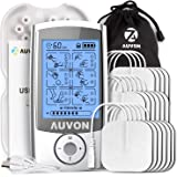 AUVON Rechargeable TENS Unit (Family Pack), 3rd Gen 16 Modes TENS Machine Muscle Stimulator with 16pcs TENS Unit…