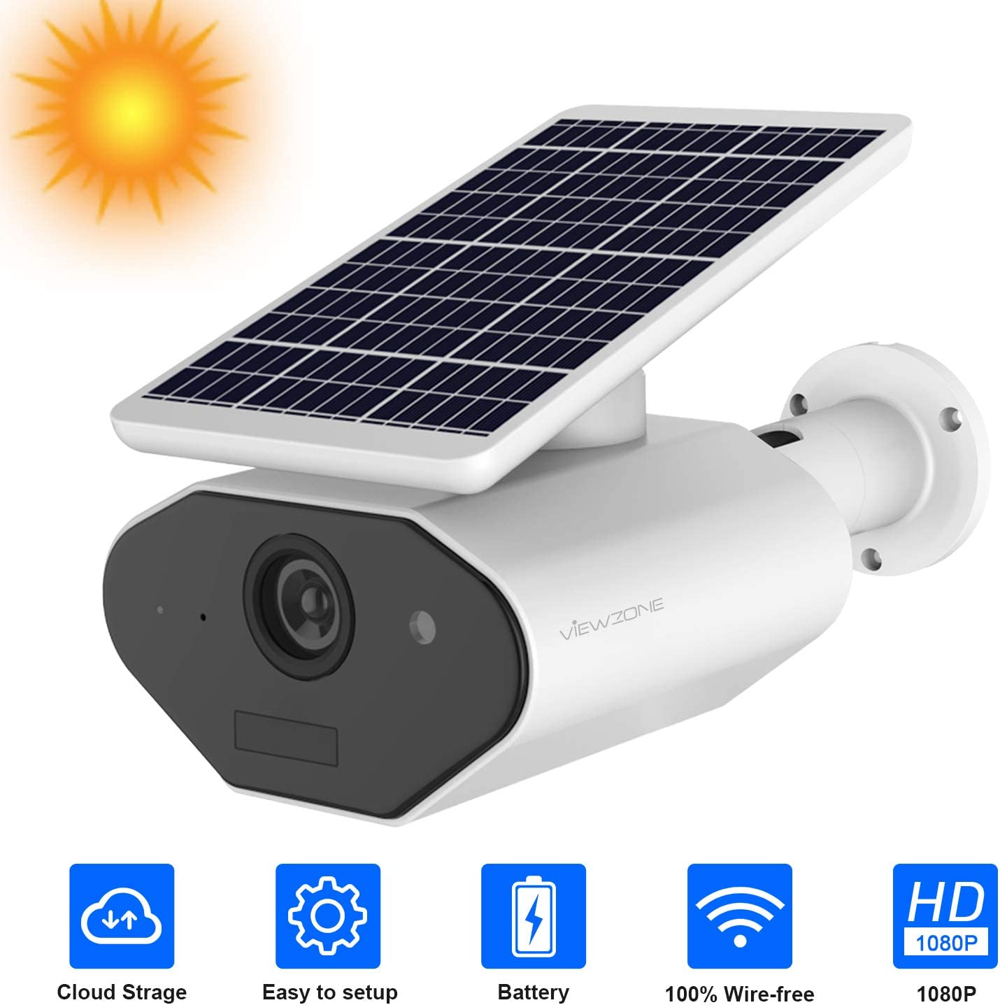 Wireless Battery Powered Security Camera Solar Powered Camera Outdoor 1080P Rechargeable Wire-Free Battery WiFi Camera for Home Security, 2 Way Audio Motion Detection,Cloud Storage, Work with Alexa