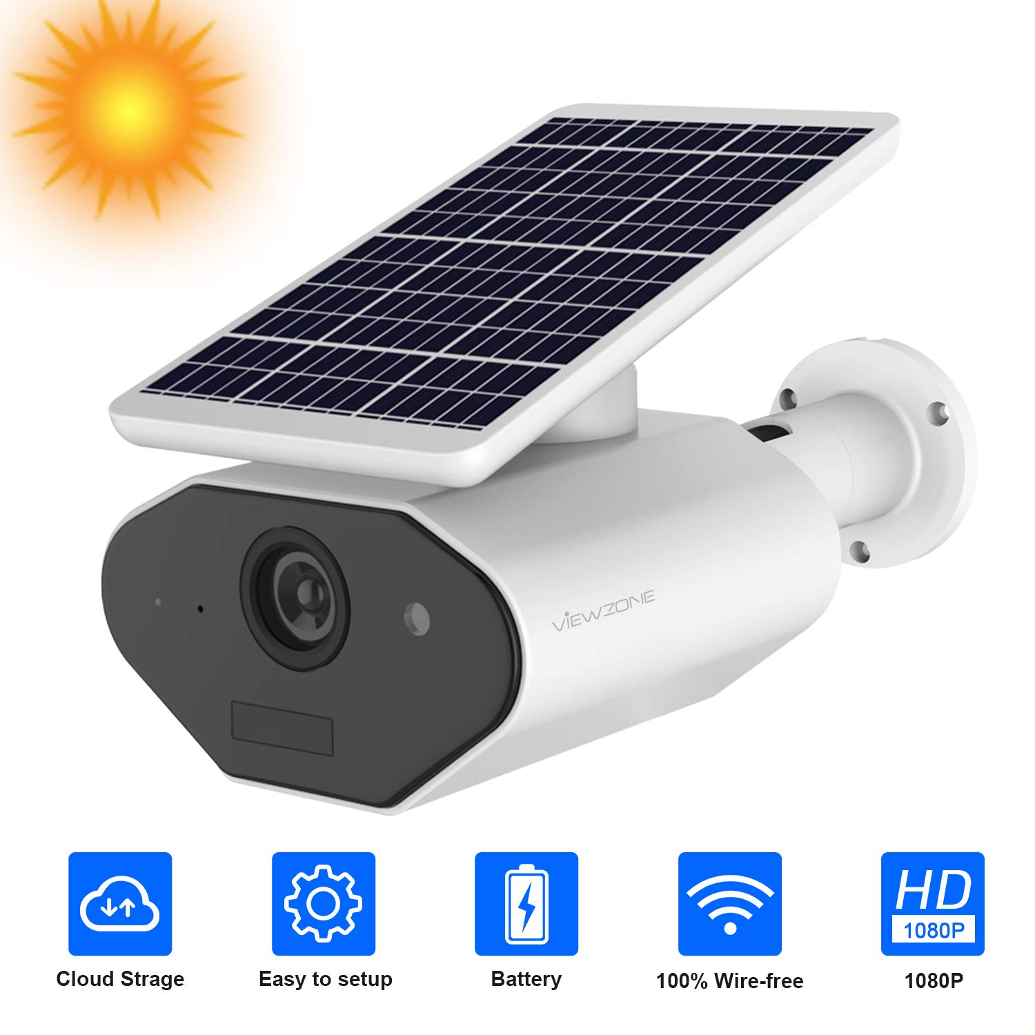 Wireless Battery Powered Security Camera Solar Powered Camera Outdoor 1080P Rechargeable Wire-Free Battery WiFi Camera for Home Security, 2 Way Audio Motion Detection,Cloud Storage, Work with Alexa by VIEWZONE