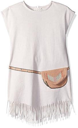 88408d63b Jessica Simpson Girls' Toddler Short Sleeve Fringe Dress, Heather Oatmeal 3T