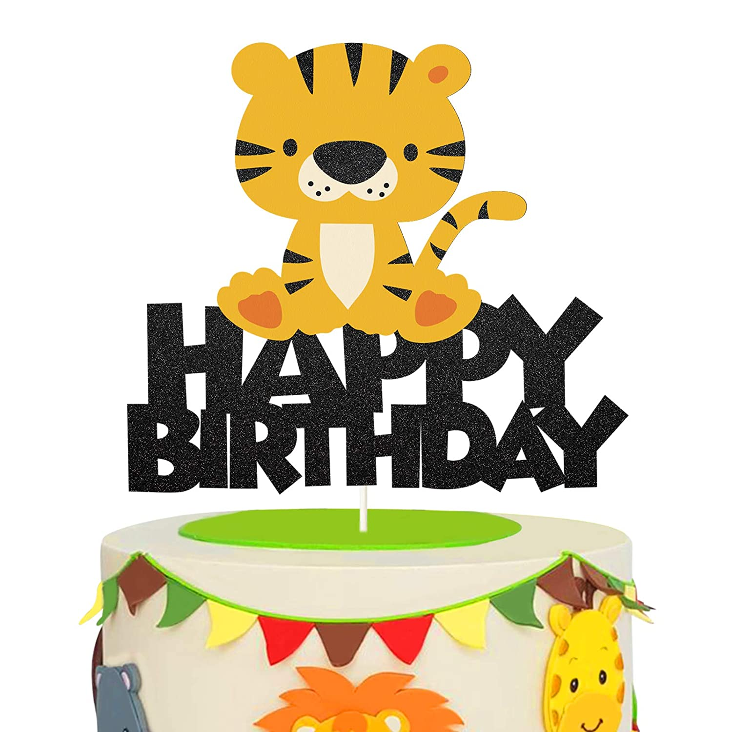 Glitter Tiger Happy Birthday Cake Topper,Safari Jungle Animal Themed Cake Decor for Baby Shower or Kids Birthday Party Decor Supplies