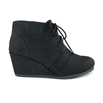 b4ba14110d2e Rex Lace up Oxford Ankle Bootie Round Toe High Hidden Wedge Heel Women s  Shoe (5.5