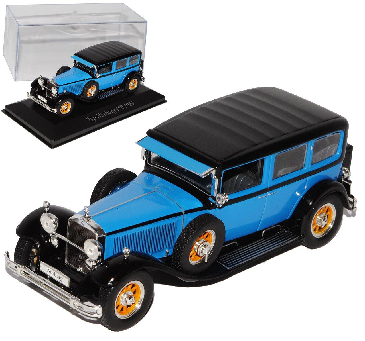 Atlas Mercedes-Benz Typ Nürburg 460 Blau 1929 1/43 Modell Auto mit individiuellem Wunschkennzeichen