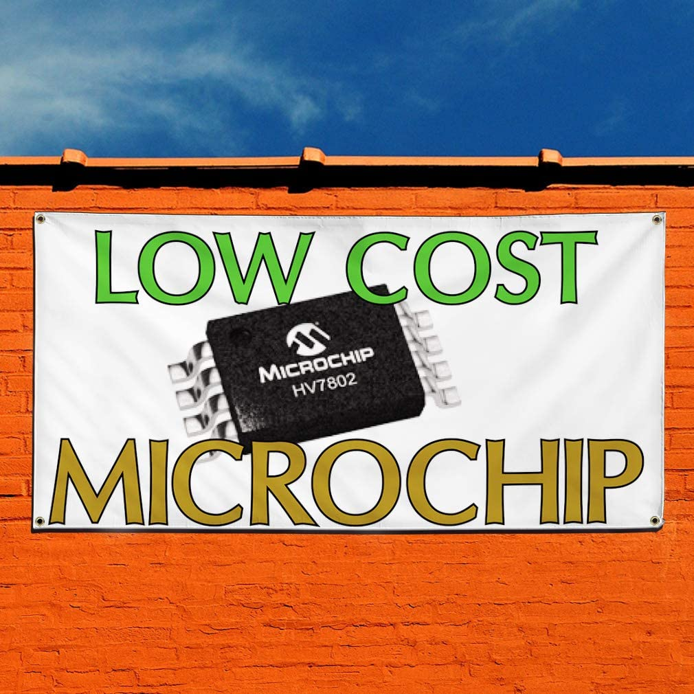 32inx80in 6 Grommets Vinyl Banner Sign Low Cost Microchip Business Outdoor Marketing Advertising White Multiple Sizes Available Set of 2