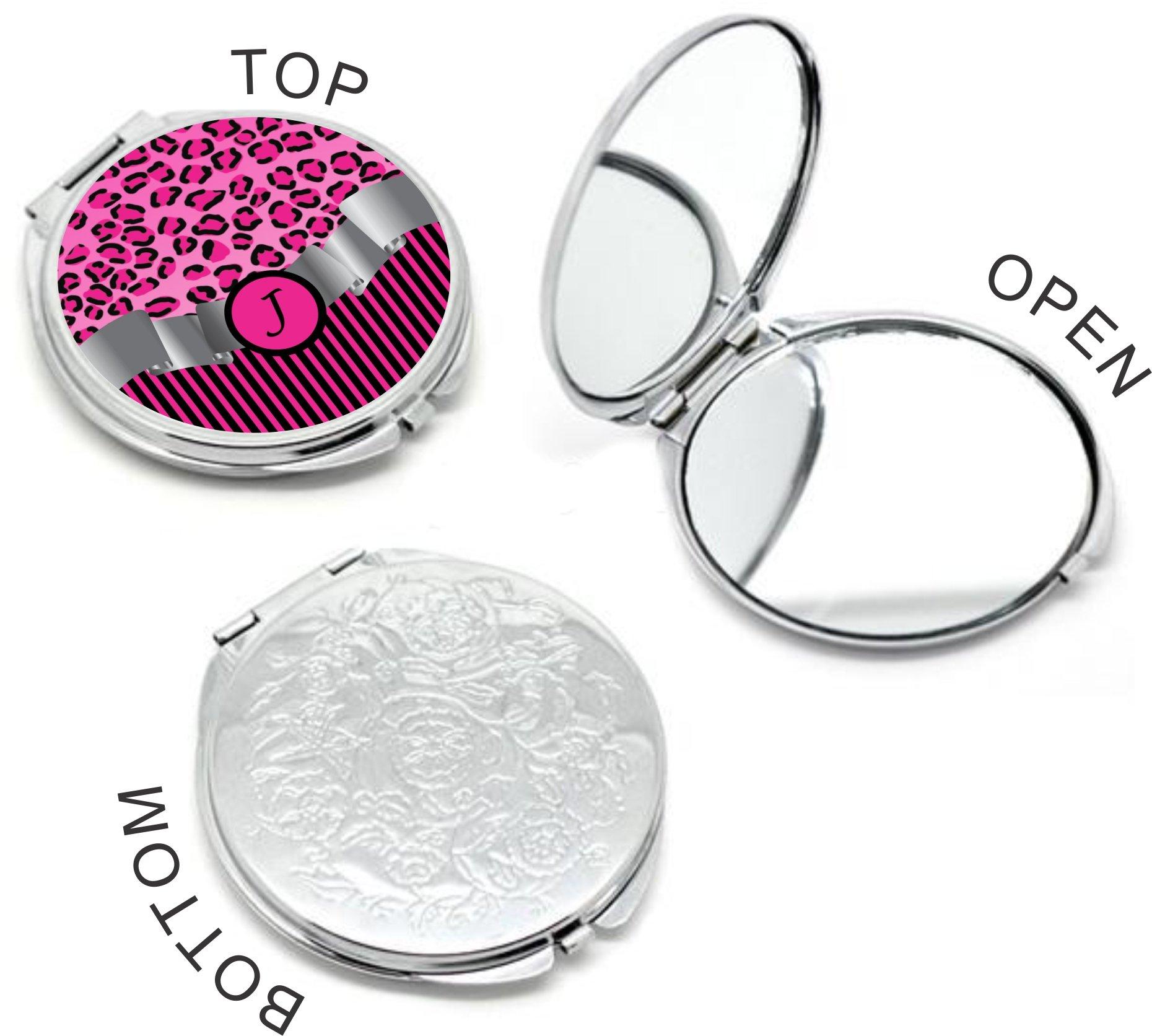 Rikki Knight Letter''J'' Hot Pink Leopard Print Stripes Monogram Design Round Compact Mirror