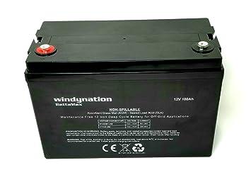Lead Acid Battery >> Windynation 100 Amp Hour 100ah 12v 12 Volt Agm Deep Cycle Sealed Lead Acid Battery Solar Rv Ups Off Grid 1 Pc 100 Amp Hour