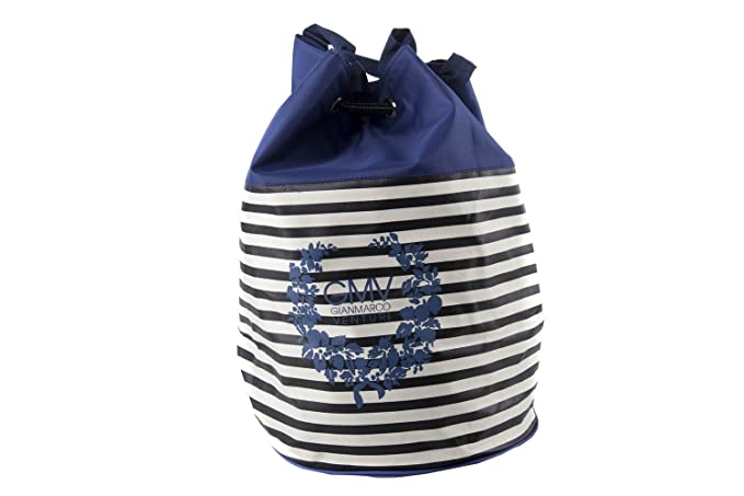 Borsa mare piscina donna GIANMARCO VENTURI blu a righe sacca zaino a spalla  V120 d8846ed4577