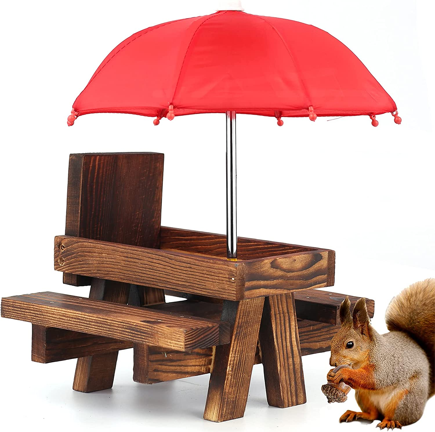 Squirrel Picnic Table Feeder with Umbrella   Cute Hanging Mini Picnic Table for Squirrels and Chipmunk   Good Gift Gifts for Squirrel Lovers ( Pine )