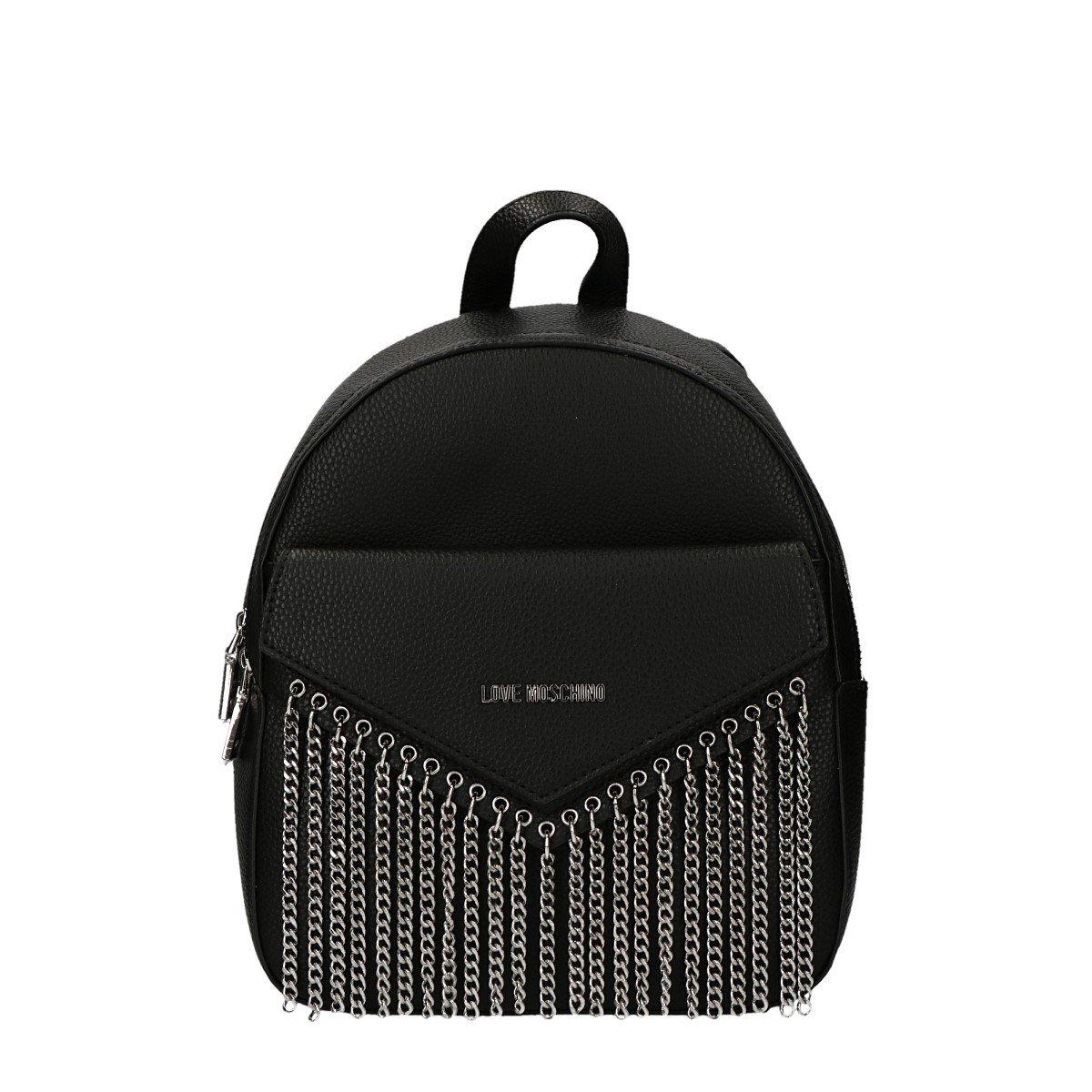 LOVE Moschino Women's Backpack Metal Chains Black Backpack