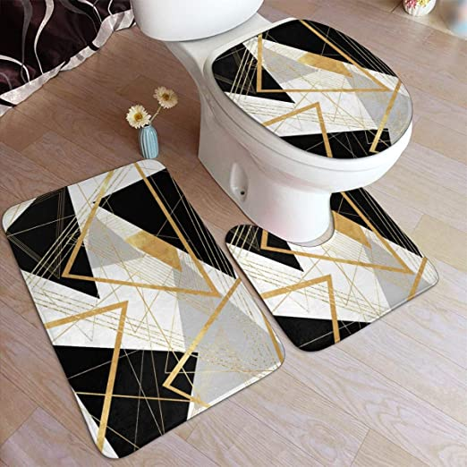 Amazon.com: Black and Gold Geometric Comfort Flannel Bathroom Rug