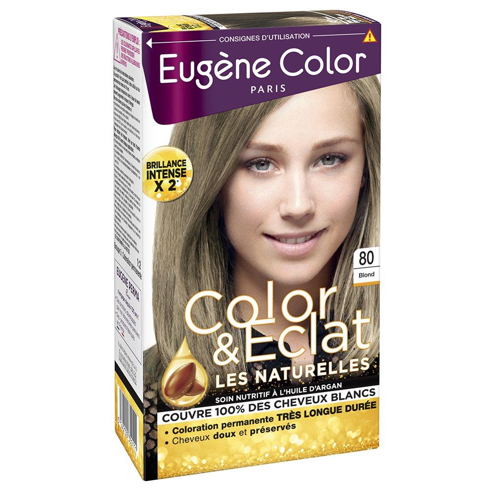 Eugène Color - Color & Eclat - Coloration Permanente Brillance Longue Durée à l'Huile d'Argan - Nuance Blond 80 21035011