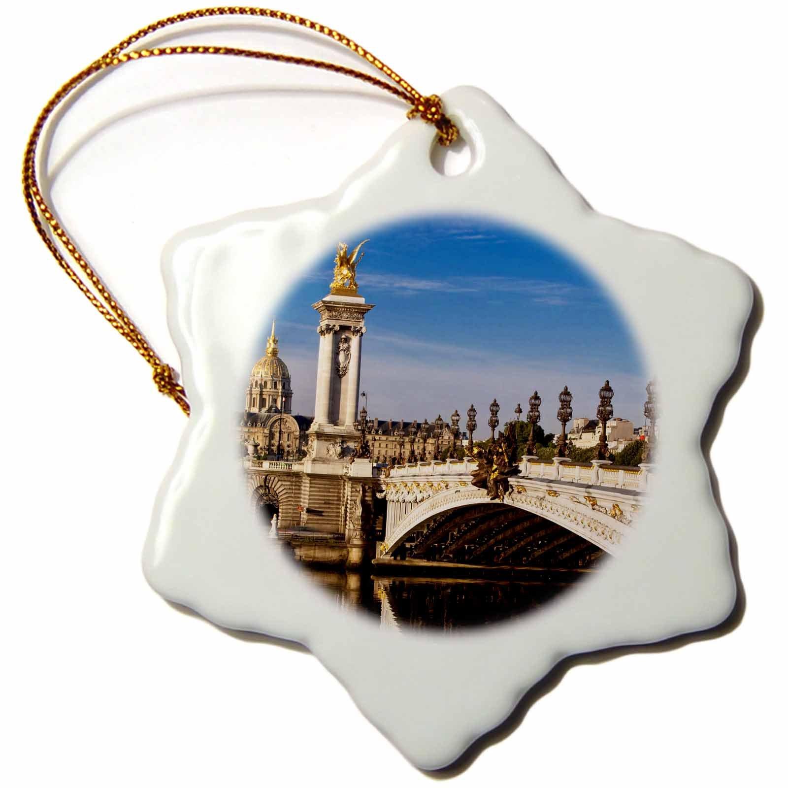 3dRose orn_136036_1 River Seine, Hotel Les Invalides, Paris, France Eu09 Bjn0282 Brian Jannsen Snowflake Ornament, Porcelain, 3-Inch