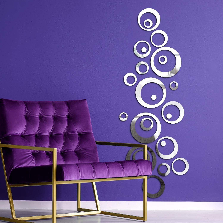 BBTO 24 Pieces DIY Mirror Combination 3D Mirror Wall Stickers Home Decoration (Silver Round Circle)