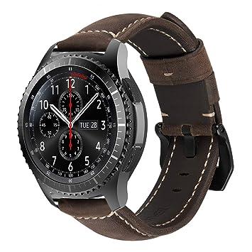MroTech Correa de Reloj de Cuero 22mm Liberación Rápida Pulsera de Repuesto Compatible para Samsung Gear