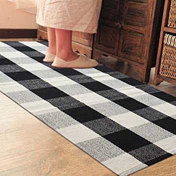 Elegant PRAGOO Cotton Rug Hand Woven Checkered Carpet Braided Kitchen Mat Living  Room Area Rug Black