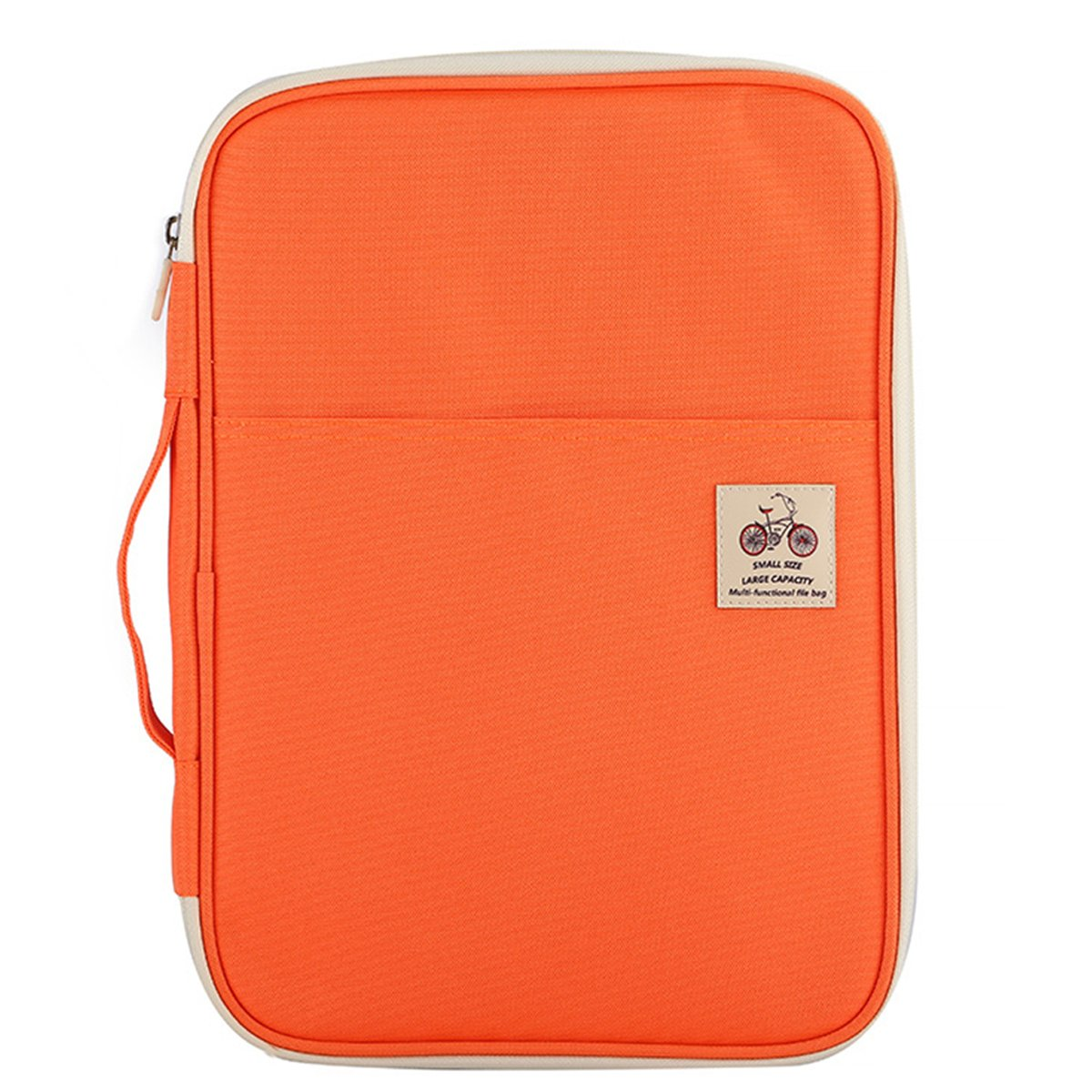 JAKAGO Warterproof A4 File Portfolio Document Folder Notepad Carrying Cases Passport Holder Tablet Sleeve Charge Cable Storage Bag for Travel Office Business Holiday Meeting Interview (Orange)