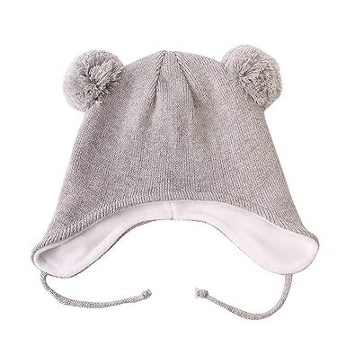 855c830b5ddc Langzhen Bonnet Bébé Garçon Souple Chapeau Hiver Chaud Mignon Epais Extensible  Chapeau Automne Cadeau Noël Anniversaire